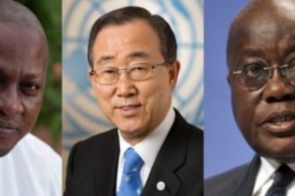 The United Nations Secretary General, Ban Ki-Moon has called on the presidential candidates of the National Democratic Congress (NDC), President John Mahama and the New Patriotic Party (NPP), Nana Akufo-Addo to ensure peace as the country heads to the polls on December 7.